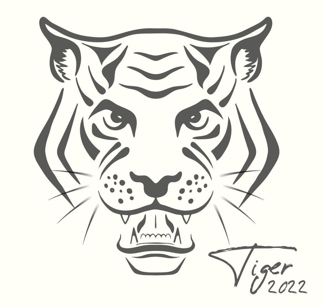 tigre esboça banner do calendário chinês 2022 para o natal e ano novo vetor