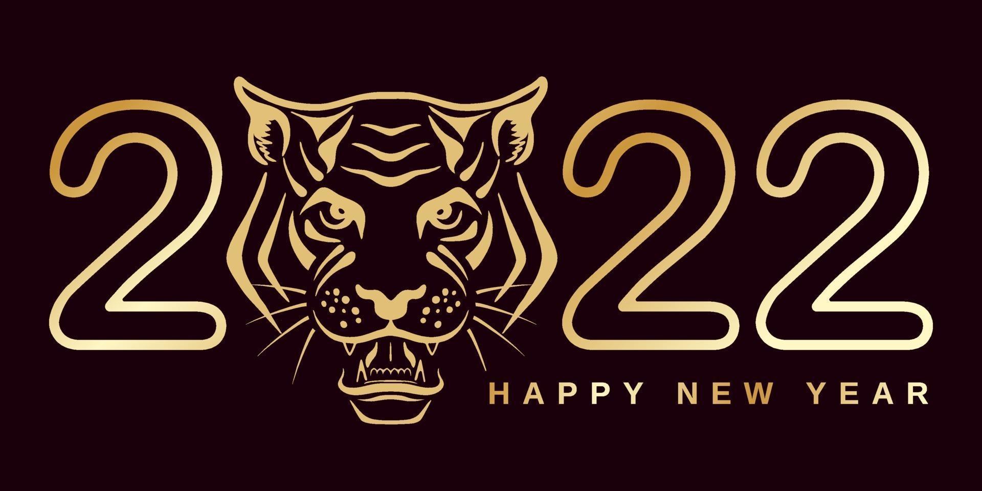 2022 com cabeça de tigre vetor