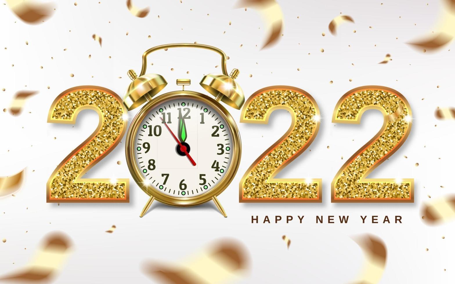 números de natal 2022 com despertador dourado vetor