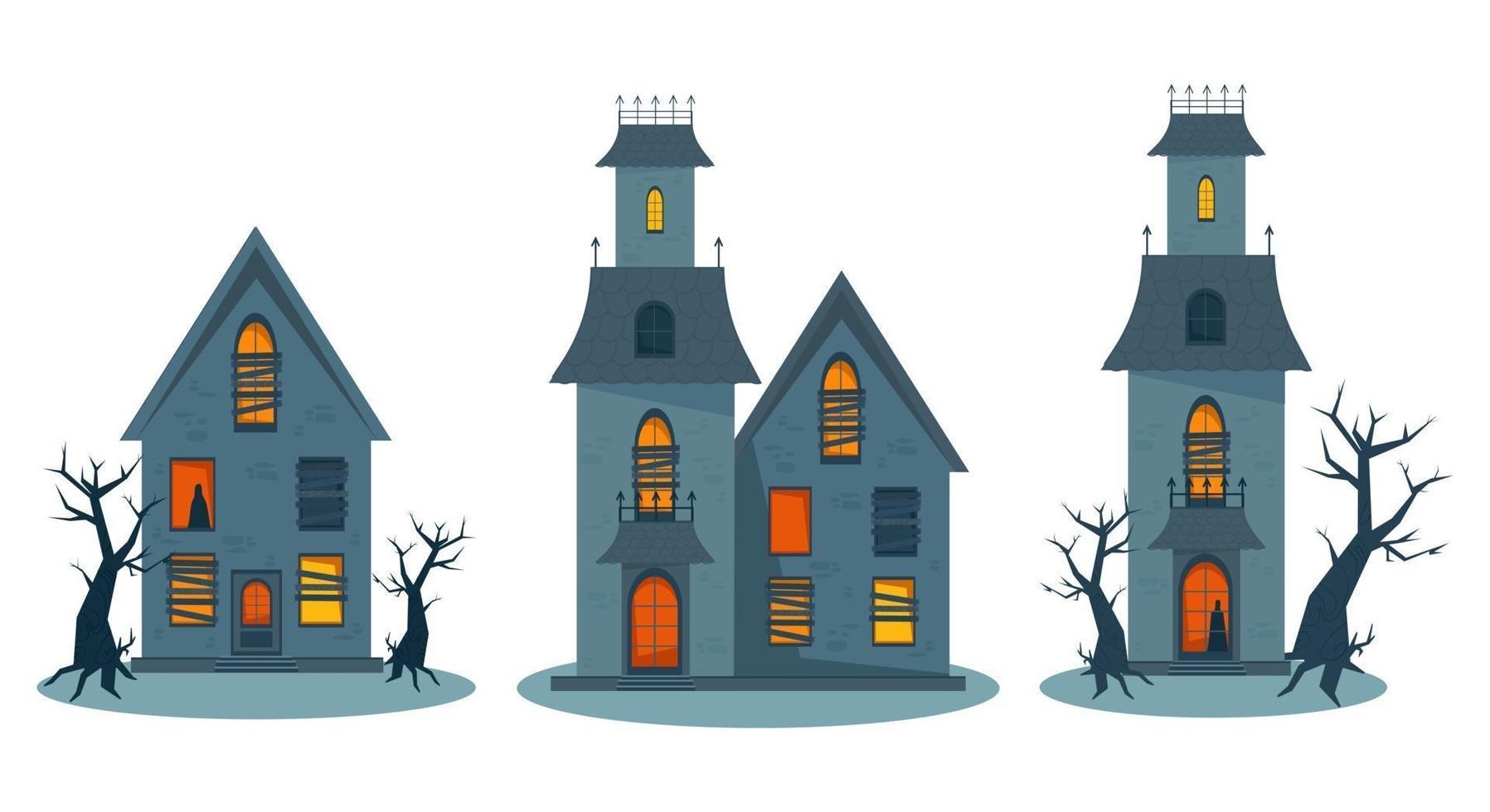 casa assombrada assustadora, conjunto de casa de terror de halloween. ilustração vetorial vetor