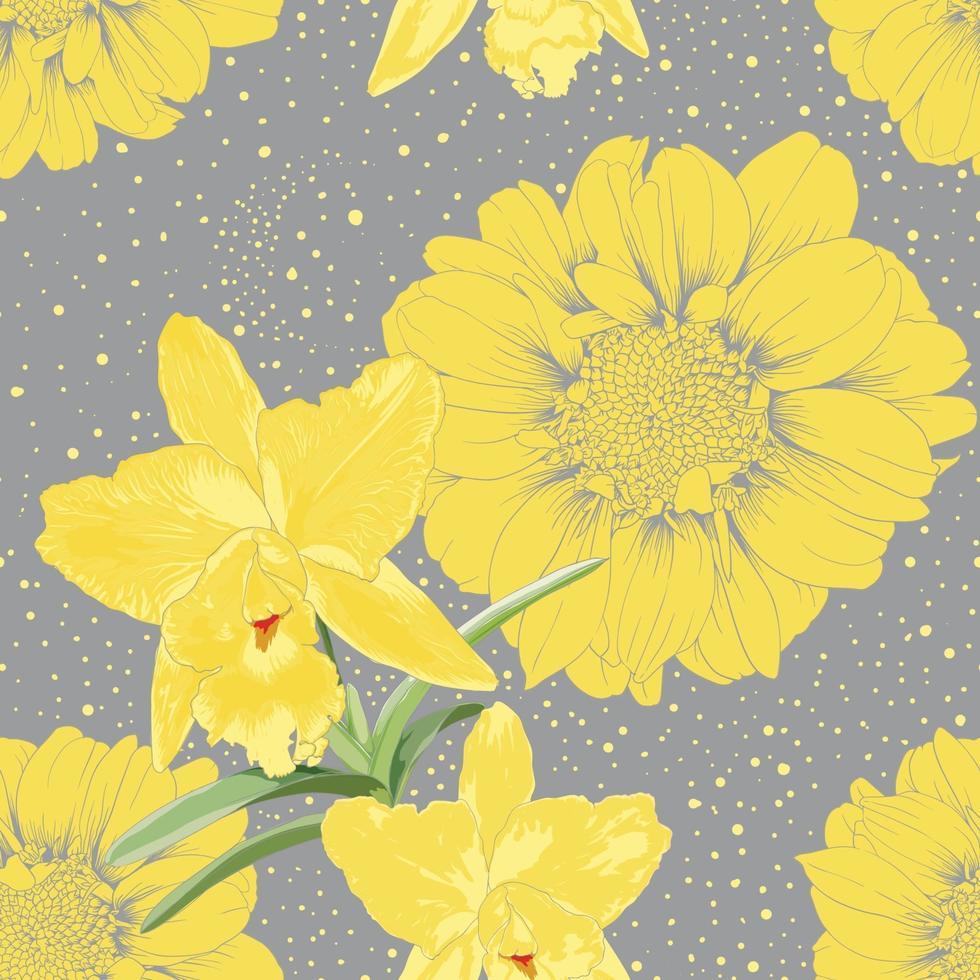 sem costura padrão zínia e flores da orquídea abstraem base. vetor