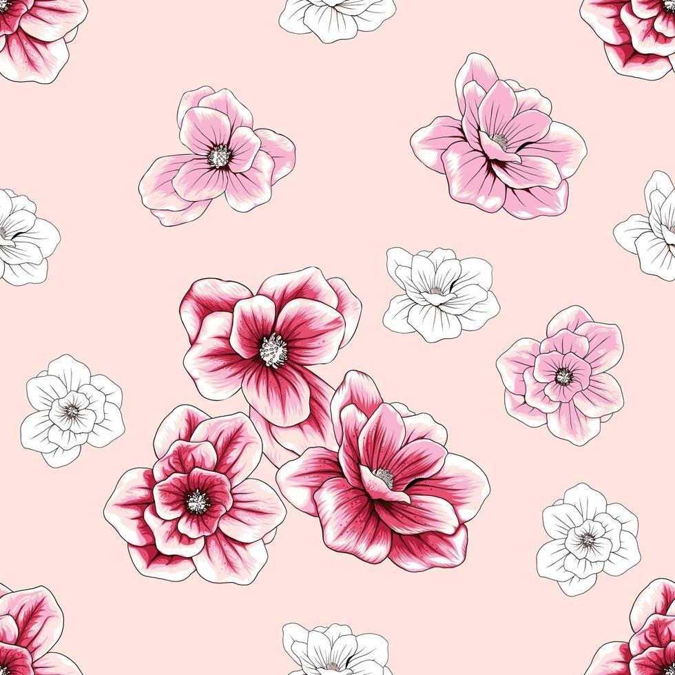 flores de magnólia floral padrão sem emenda abstraem base. vetor