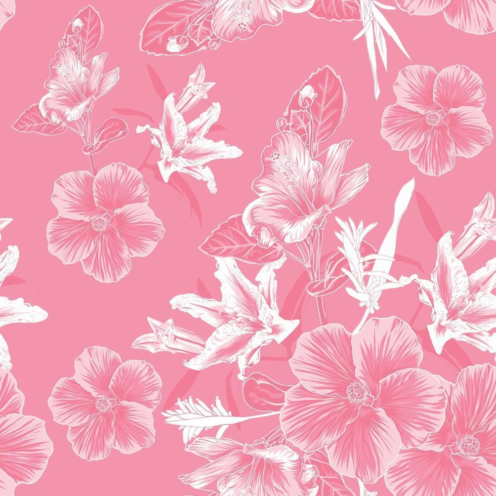 sem costura padrão floral com fundo de flores de hibisco e lilly. vetor