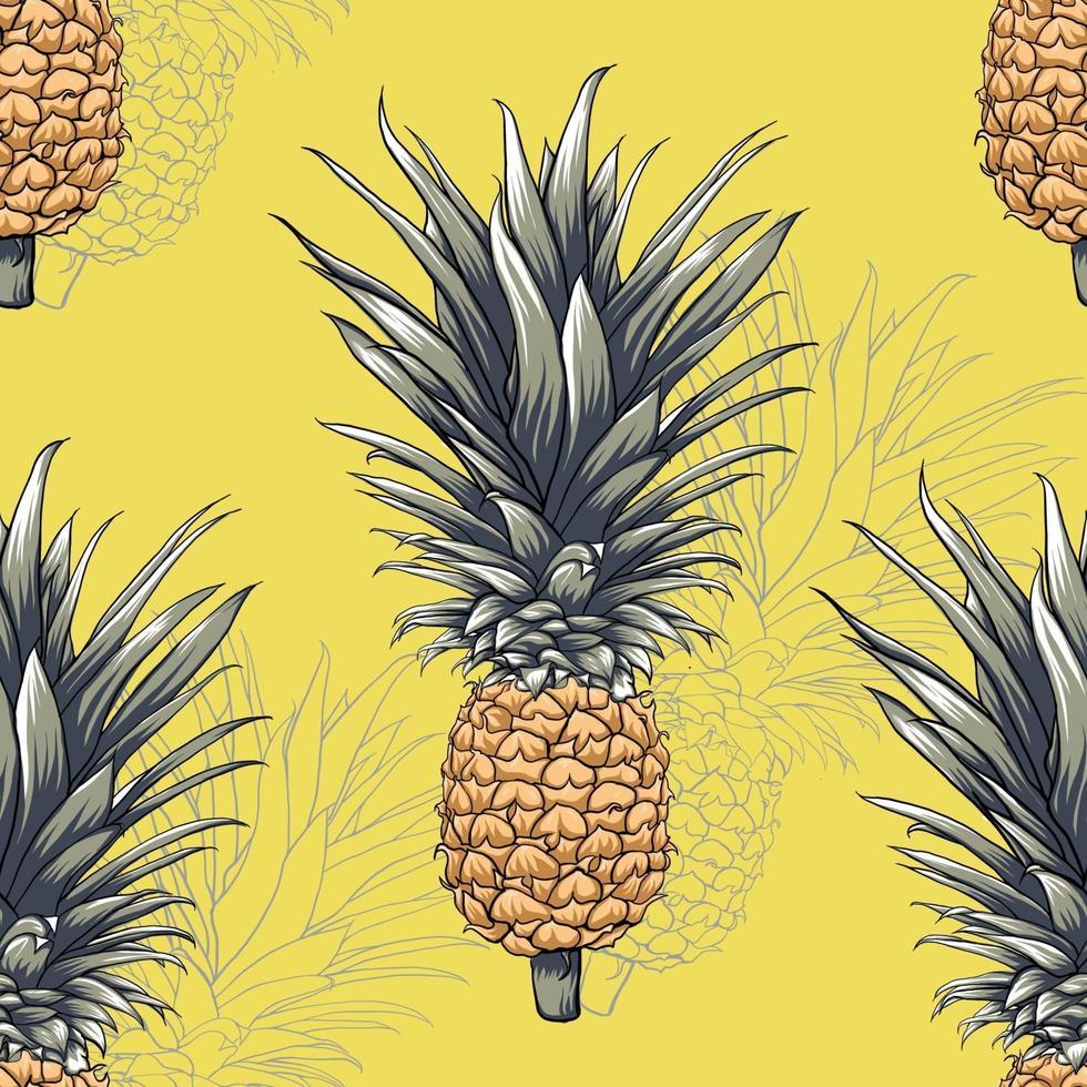 padrão sem emenda abacaxi fruta abstrato. vetor