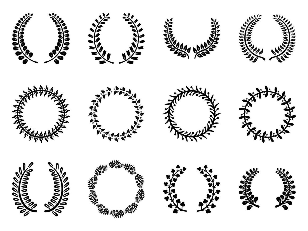 conjunto de ícones de quadros de louro - ilustração vetorial. vetor