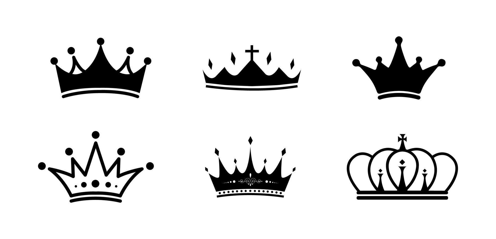 conjunto de ícones de coroa - ilustração vetorial. vetor