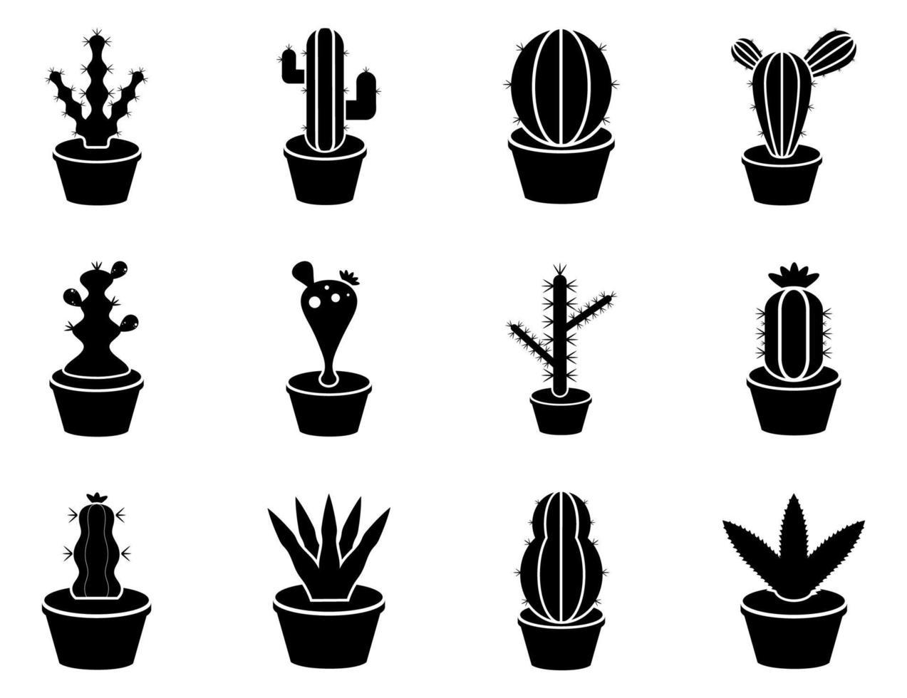 conjunto de ícones de cacto - ilustração vetorial. vetor