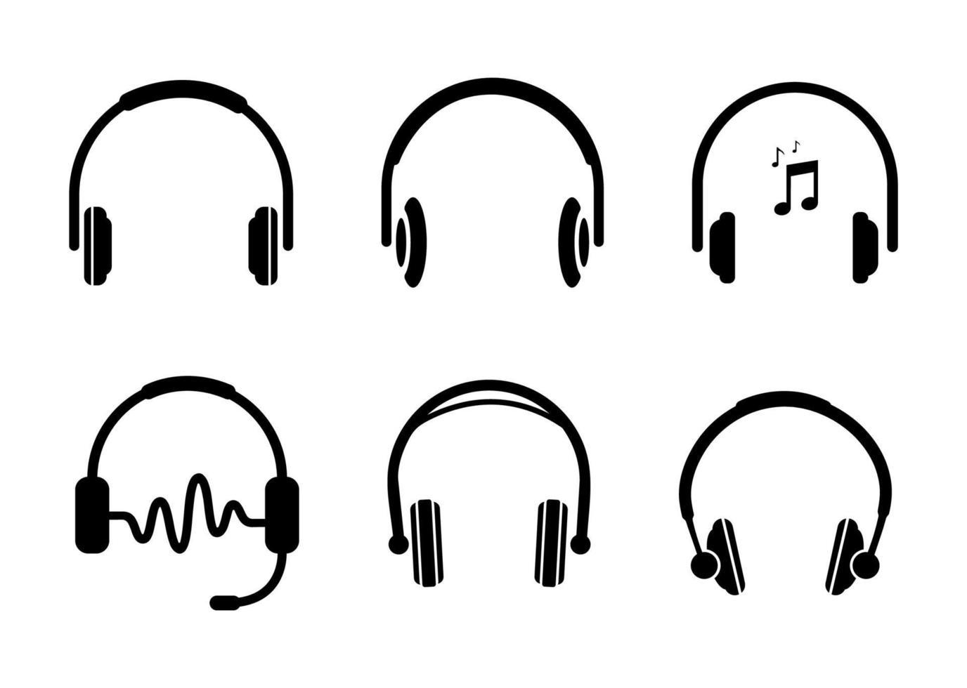 conjunto de ícones de fones de ouvido - ilustração vetorial. vetor