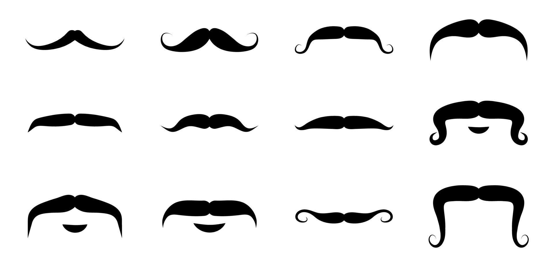 conjunto de ícones de bigode - ilustração vetorial. vetor