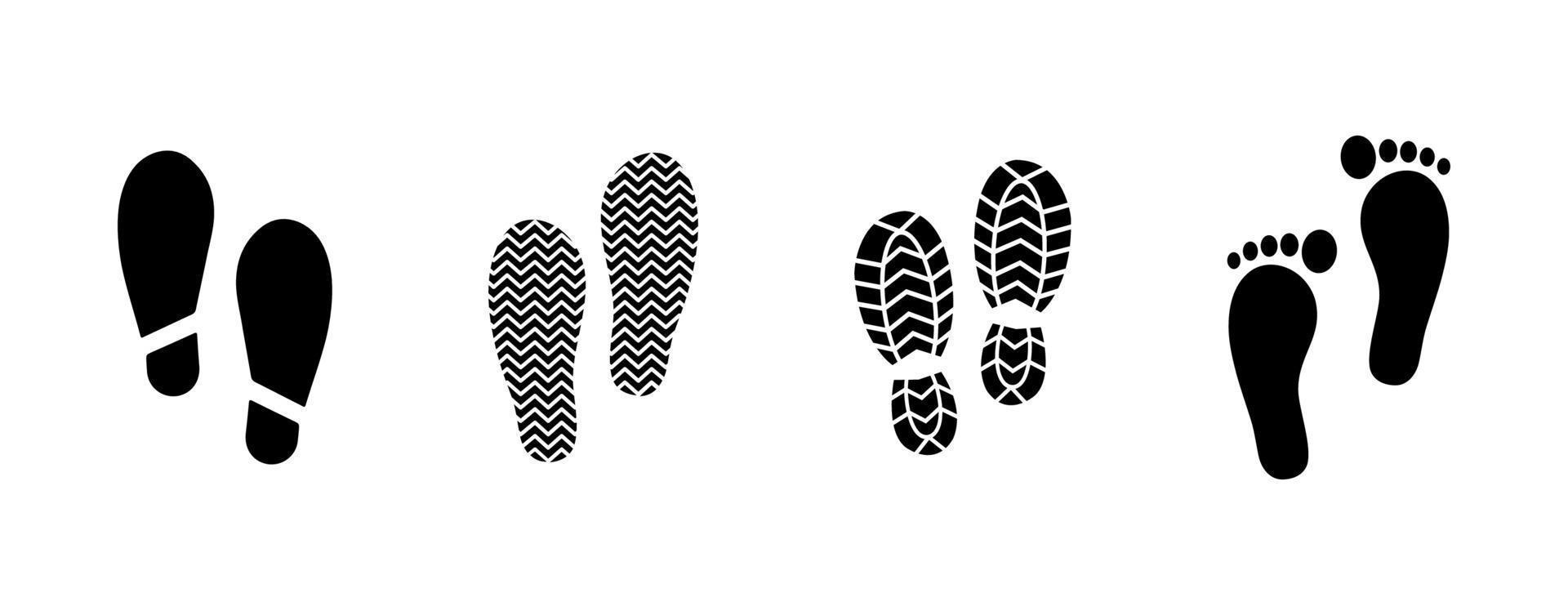 conjunto de ícones de pegada - ilustração vetorial. vetor