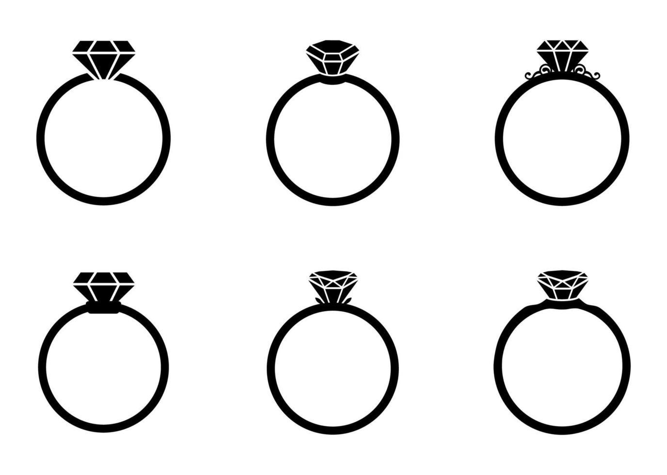 conjunto de ícones de anel de diamante - ilustração vetorial. vetor