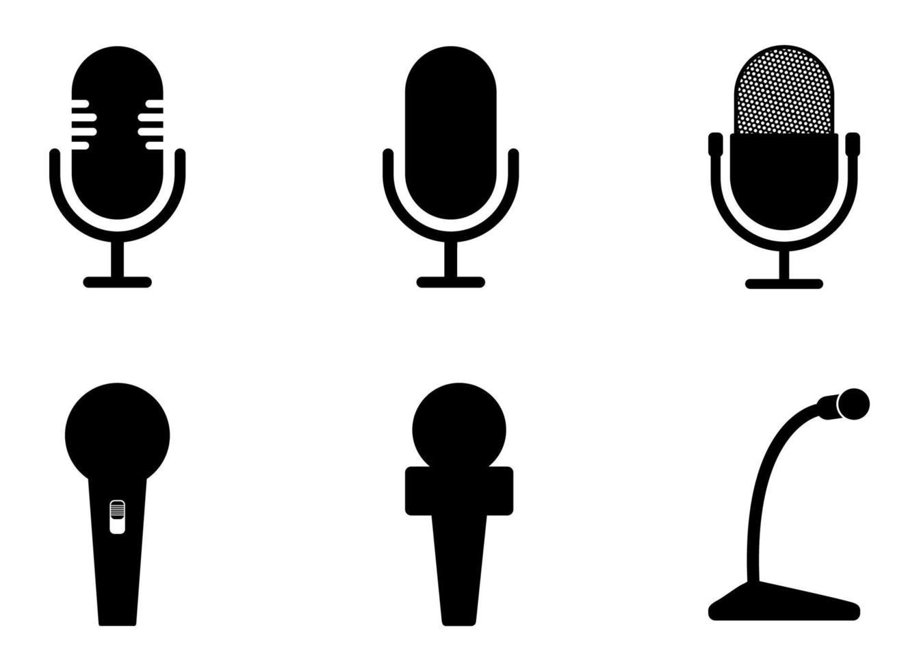 conjunto de ícones de microfone - ilustração vetorial. vetor