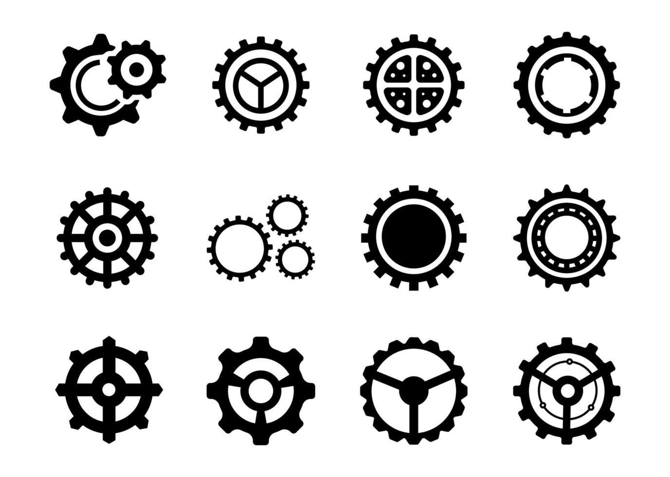 conjunto de ícones de engrenagem - ilustração vetorial. vetor