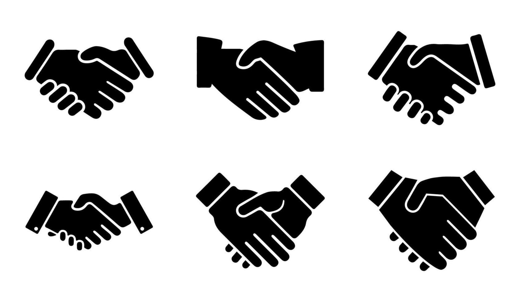 conjunto de ícones de aperto de mão - ilustração vetorial. vetor