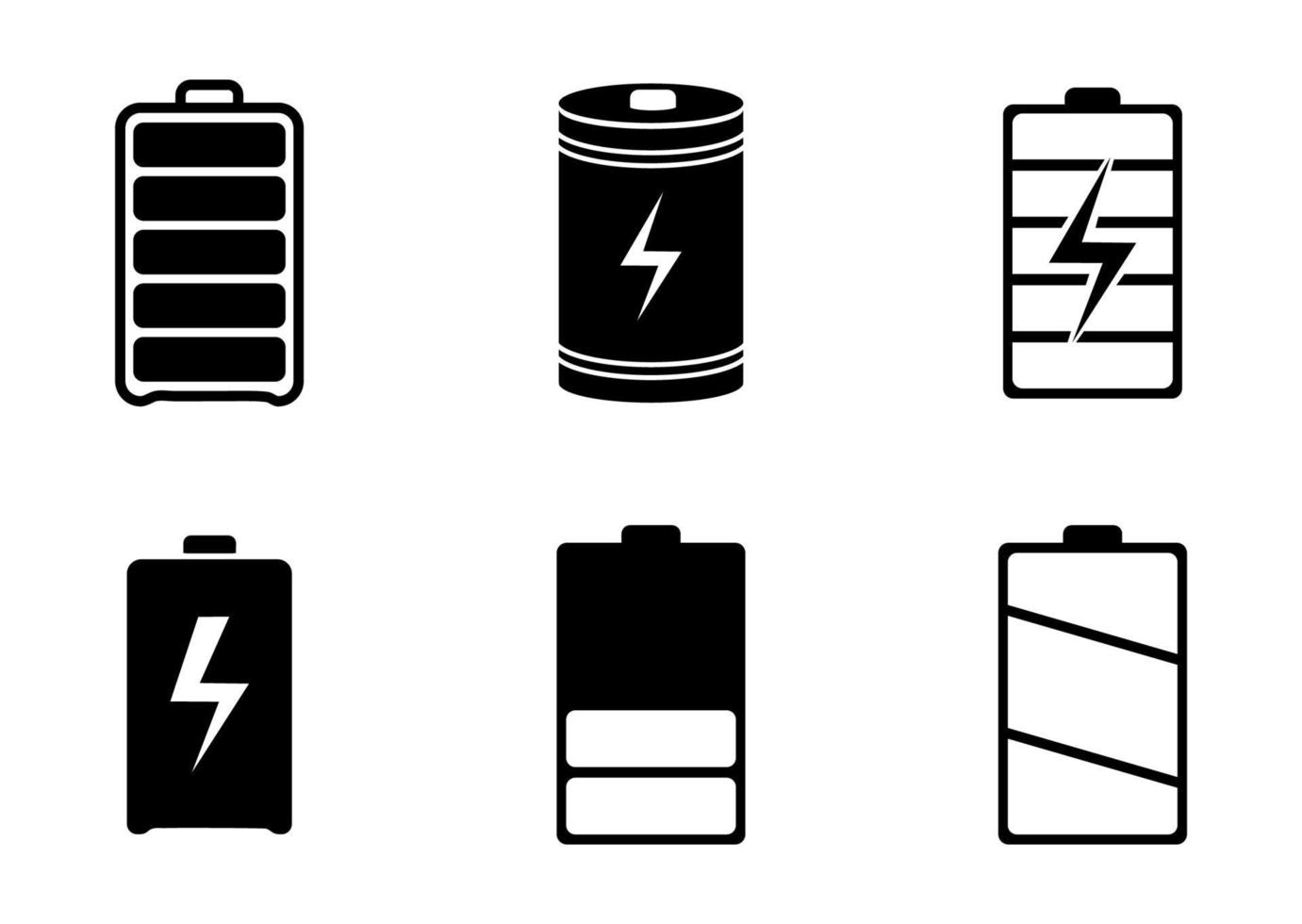 conjunto de ícones de bateria - ilustração vetorial. vetor