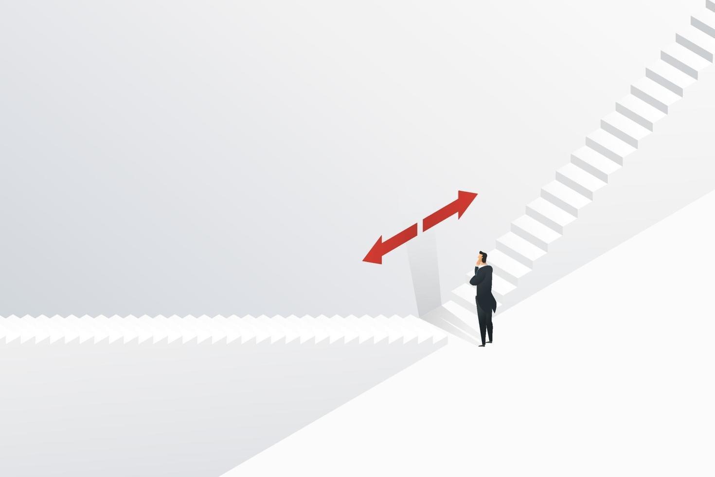 empresário confunde para escolher em qual direção subir as escadas. vetor