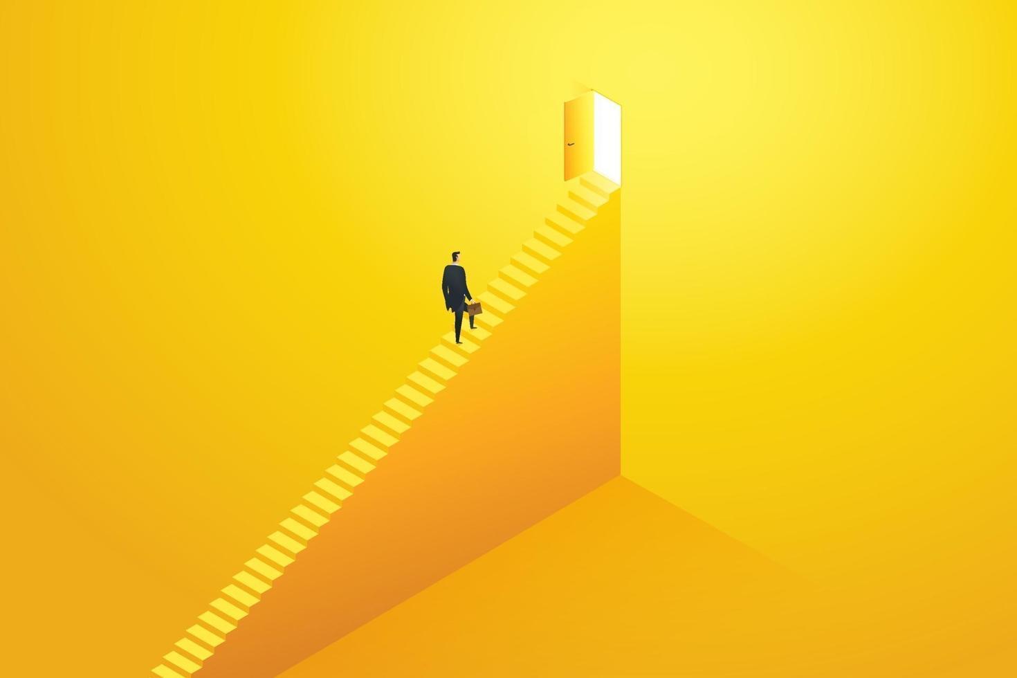 empresário subindo as escadas correndo para o alvo. vetor