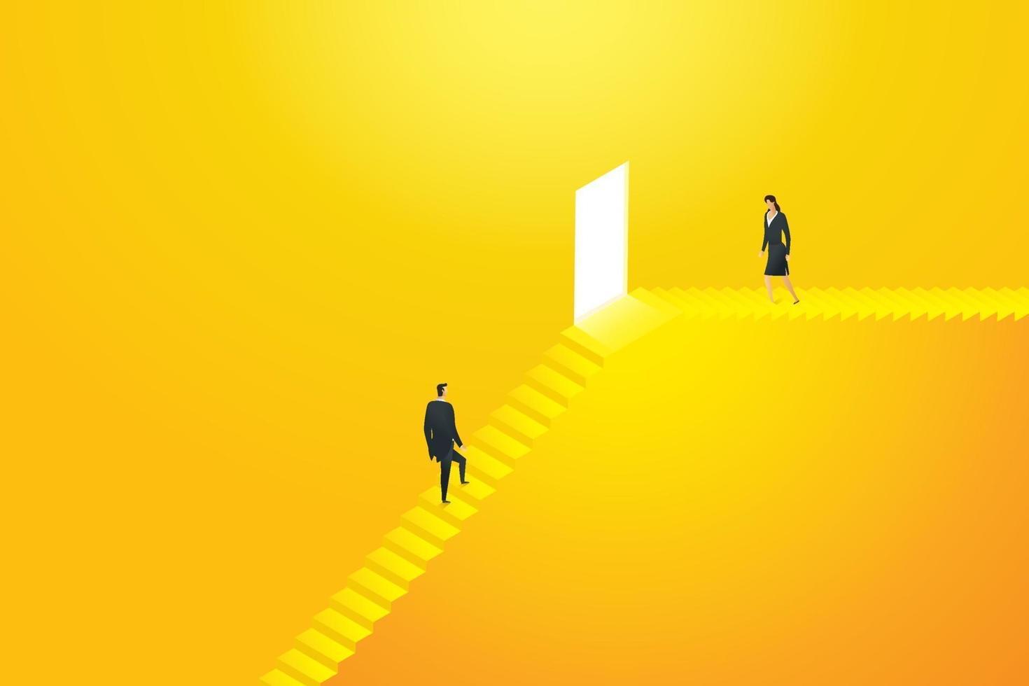 empresários dois estão subindo as escadas em direção ao destino. vetor