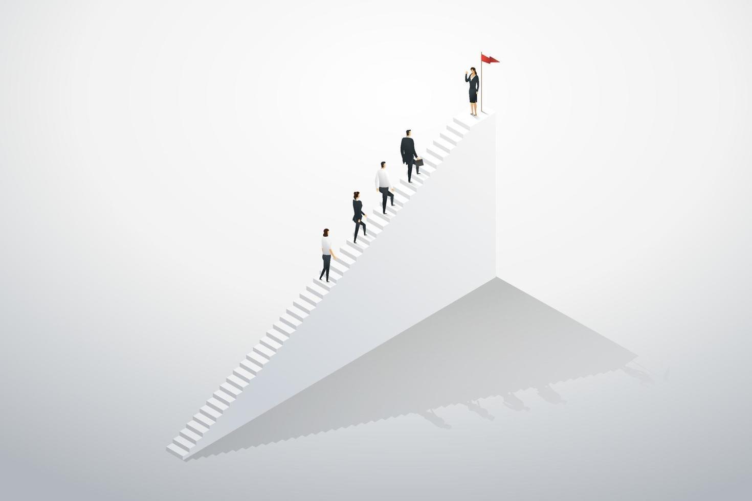 equipe de negócios líder empresária subindo escadas passo no sucesso. vetor