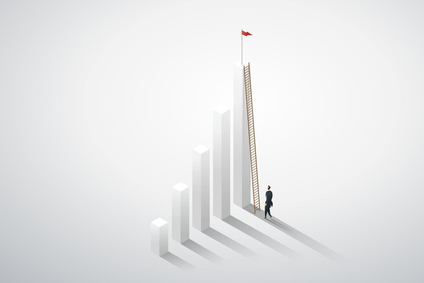 visão de empresário subindo escada em oportunidades de gráfico. vetor