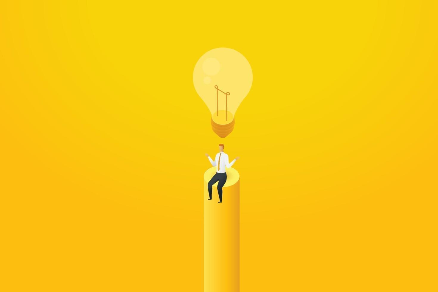 empresário nenhuma ideia sentar-se sob a lâmpada desligada. vetor