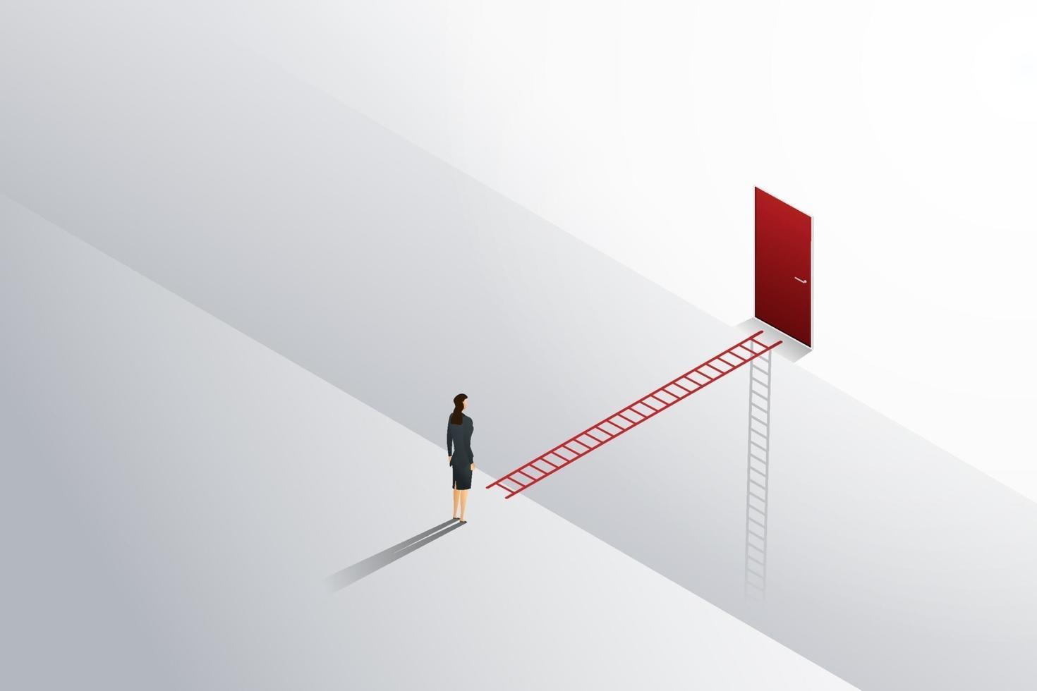 mulher de negócios em pé olha para a escada cruzada para a porta vermelha. vetor