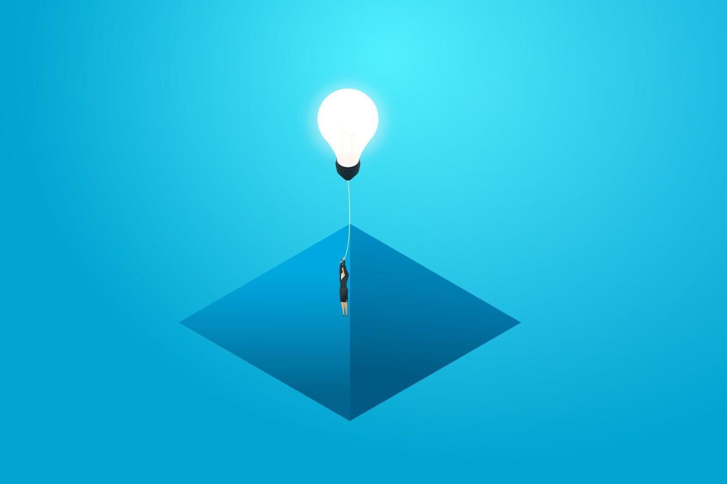 empresária voando com lâmpada de solução de lacuna e negócios. vetor