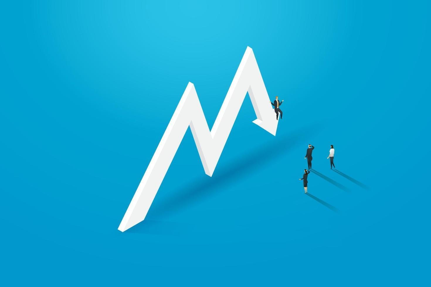 investidor de empresários enfrentando recessão econômica e não sucesso. vetor