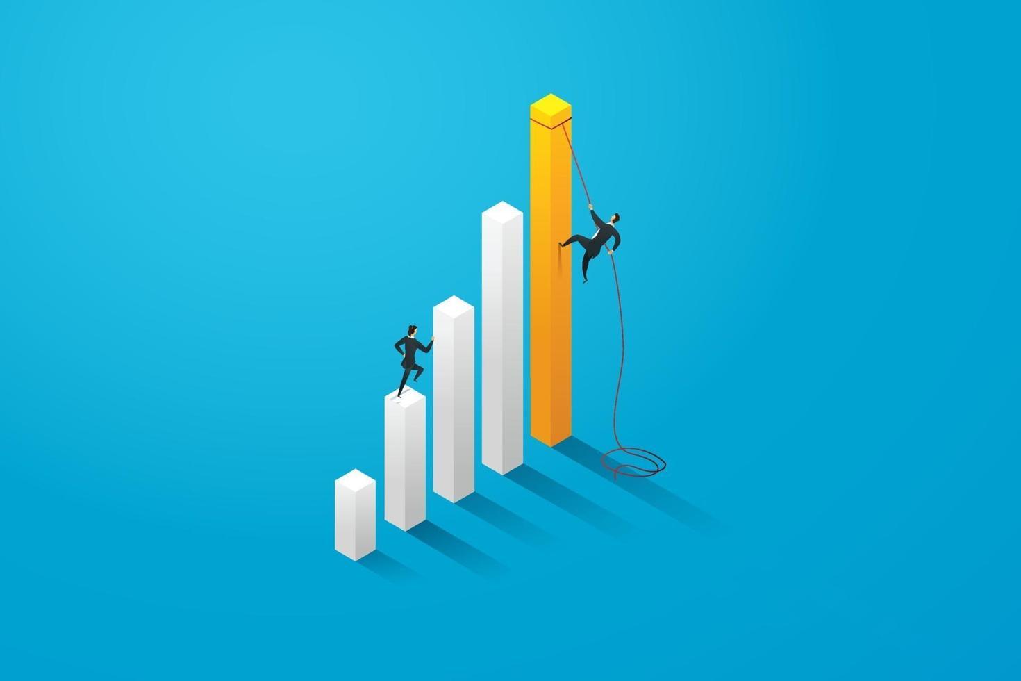 dois executivos correndo em direção ao crescimento da meta. vetor