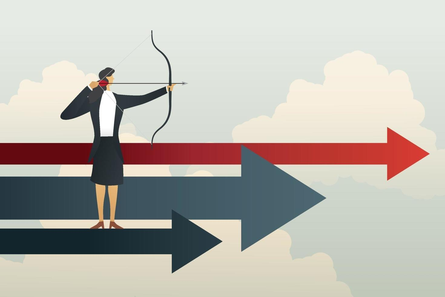 empresária visando objetivos bem-sucedidos vetor