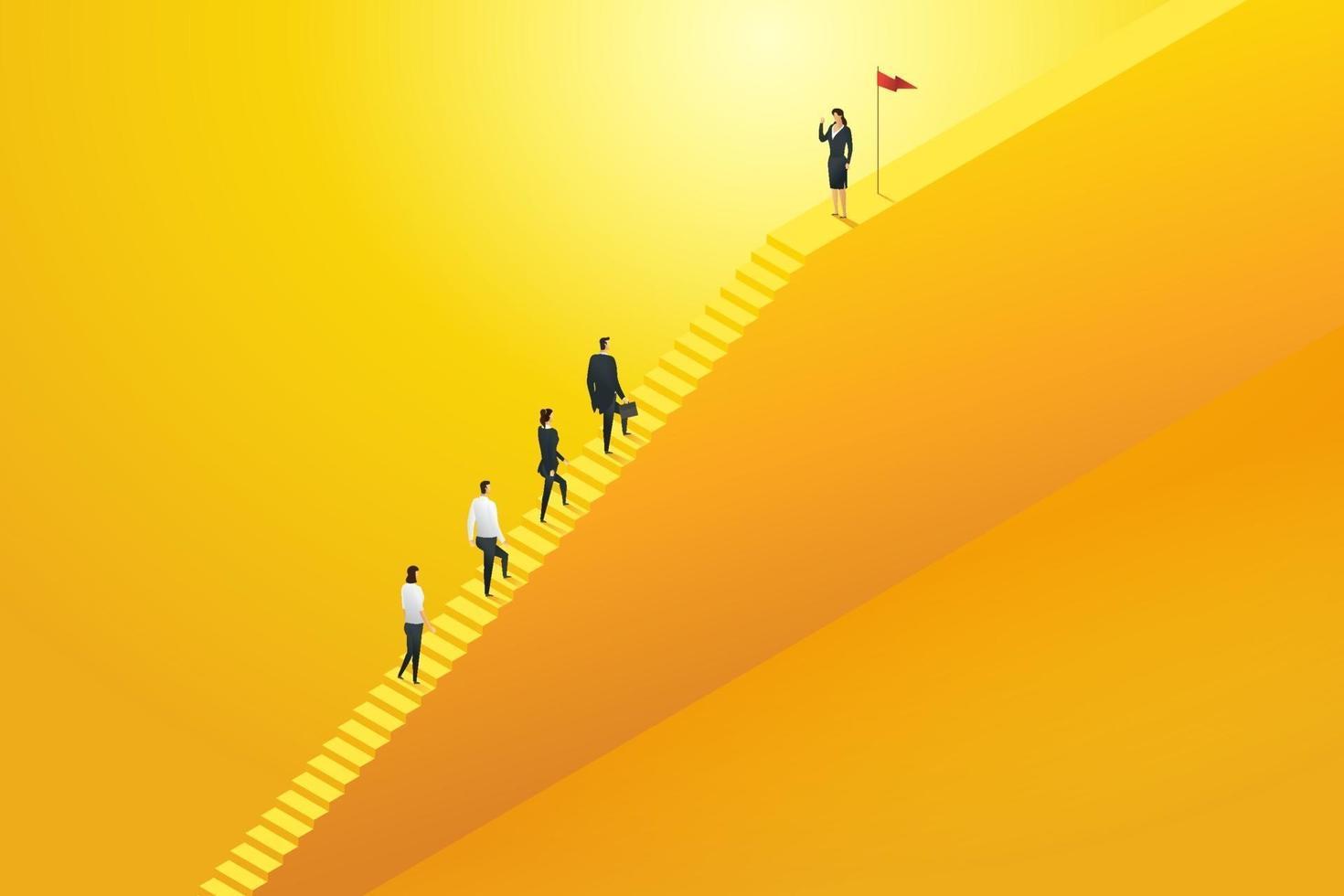 equipe de negócios líder de negócios subindo escadas. vetor