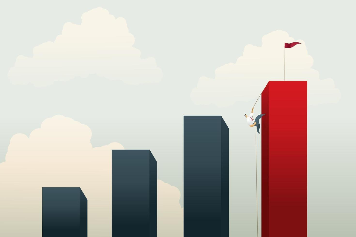 empresários escalando um penhasco vetor