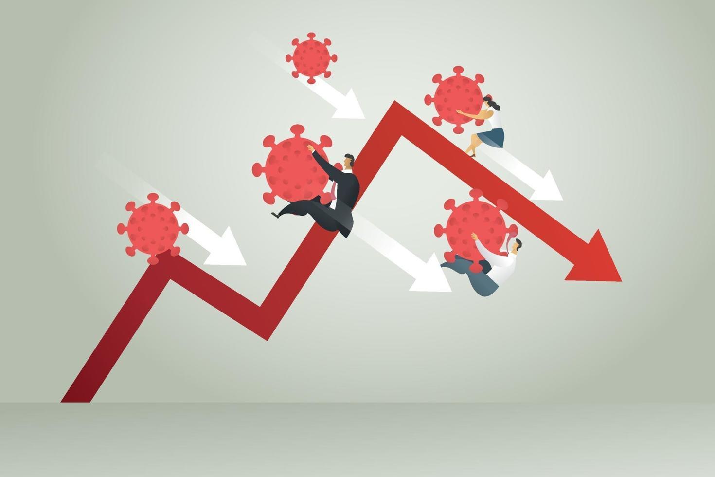 empresário e empresária caindo gráfico formulário coronavirus vetor
