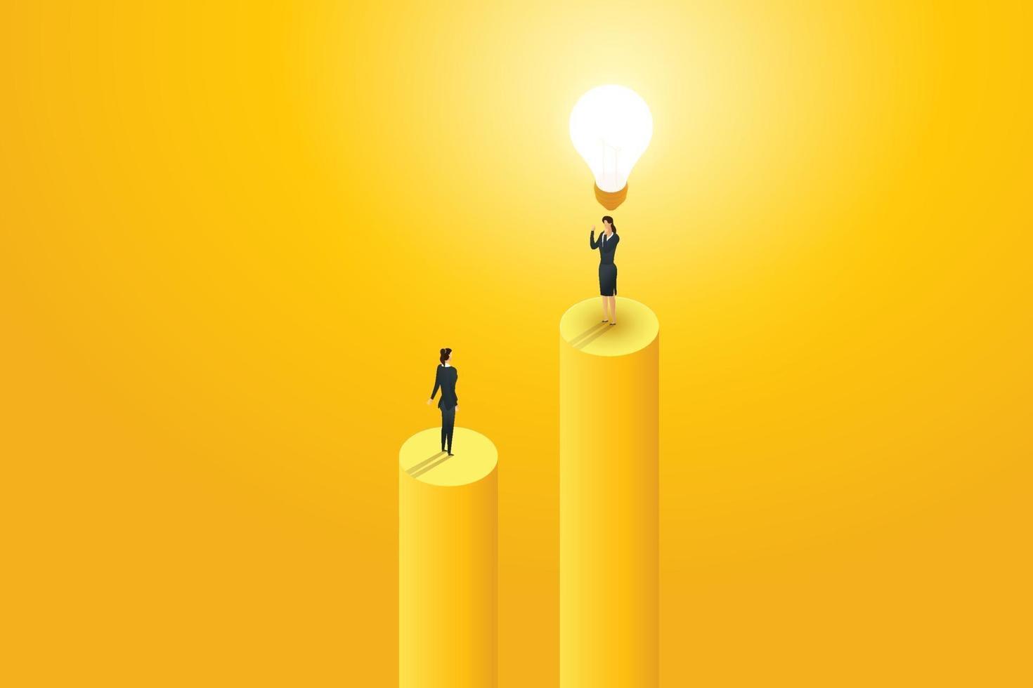 empresária ver empresários em pé sob a lâmpada criativa. vetor