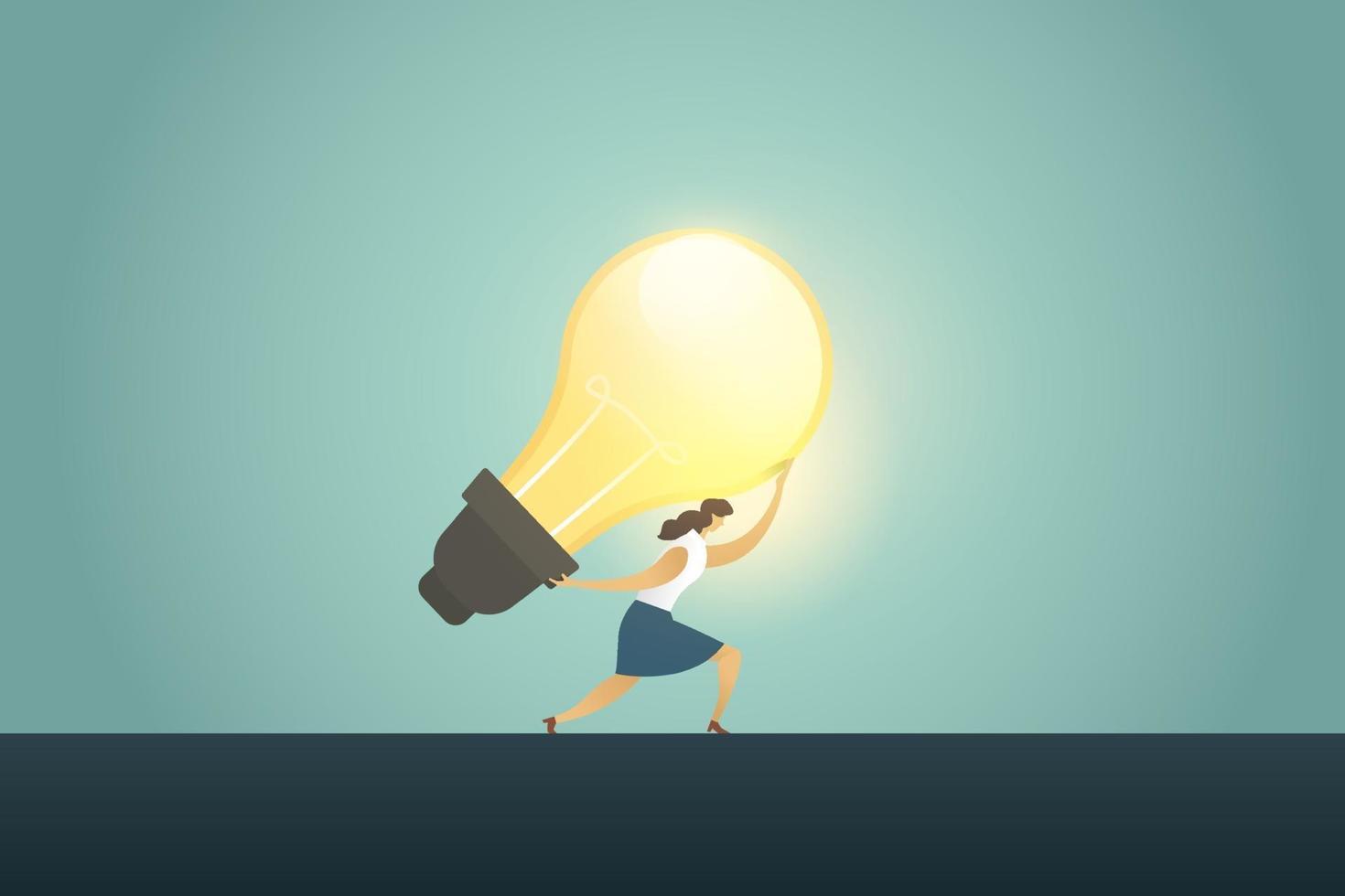 líder de empresária segurando o sucesso de criatividade de bulbo de grande ideia. vetor