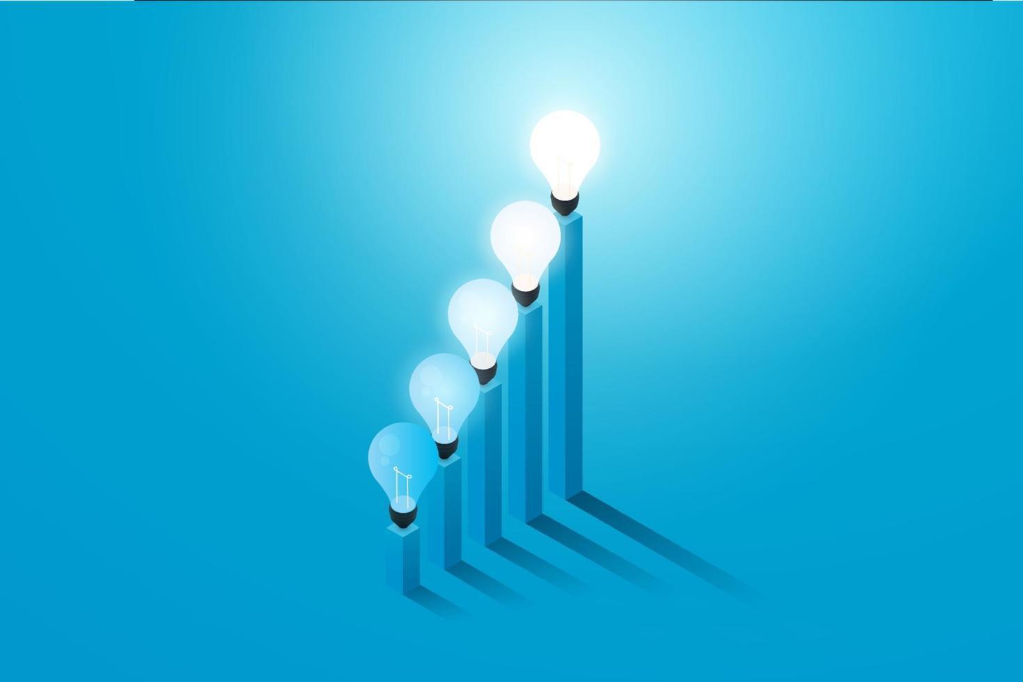 lâmpada criativa com gráfico crescendo sobre um fundo azul vetor