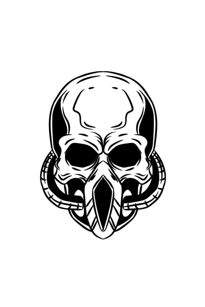 crânio com máscara de vetor de desenho à mão
