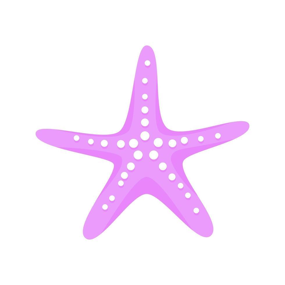 ilustração em vetor design estilo plano estrela do mar rosa
