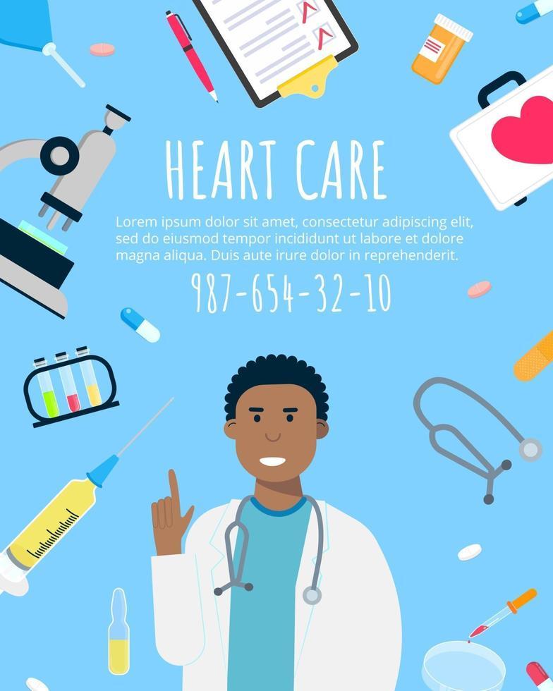 cartaz do projeto do estilo simples do conceito do dia do coração mundial. vetor