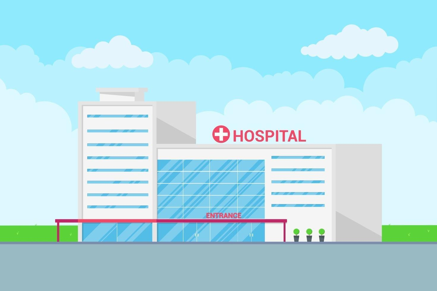 paisagem hospitalar construindo conceito médico. vetor