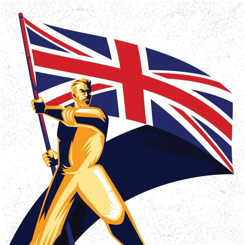 homem segurando uma bandeira do Reino Unido com ilustração vetorial de orgulho vetor