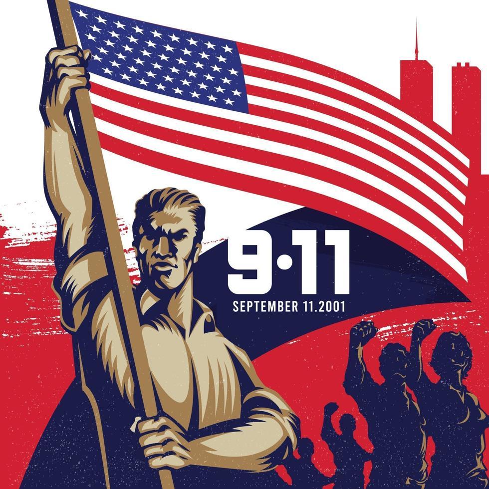 ilustração de fundo do dia do patriota da bandeira americana 9.11 vetor