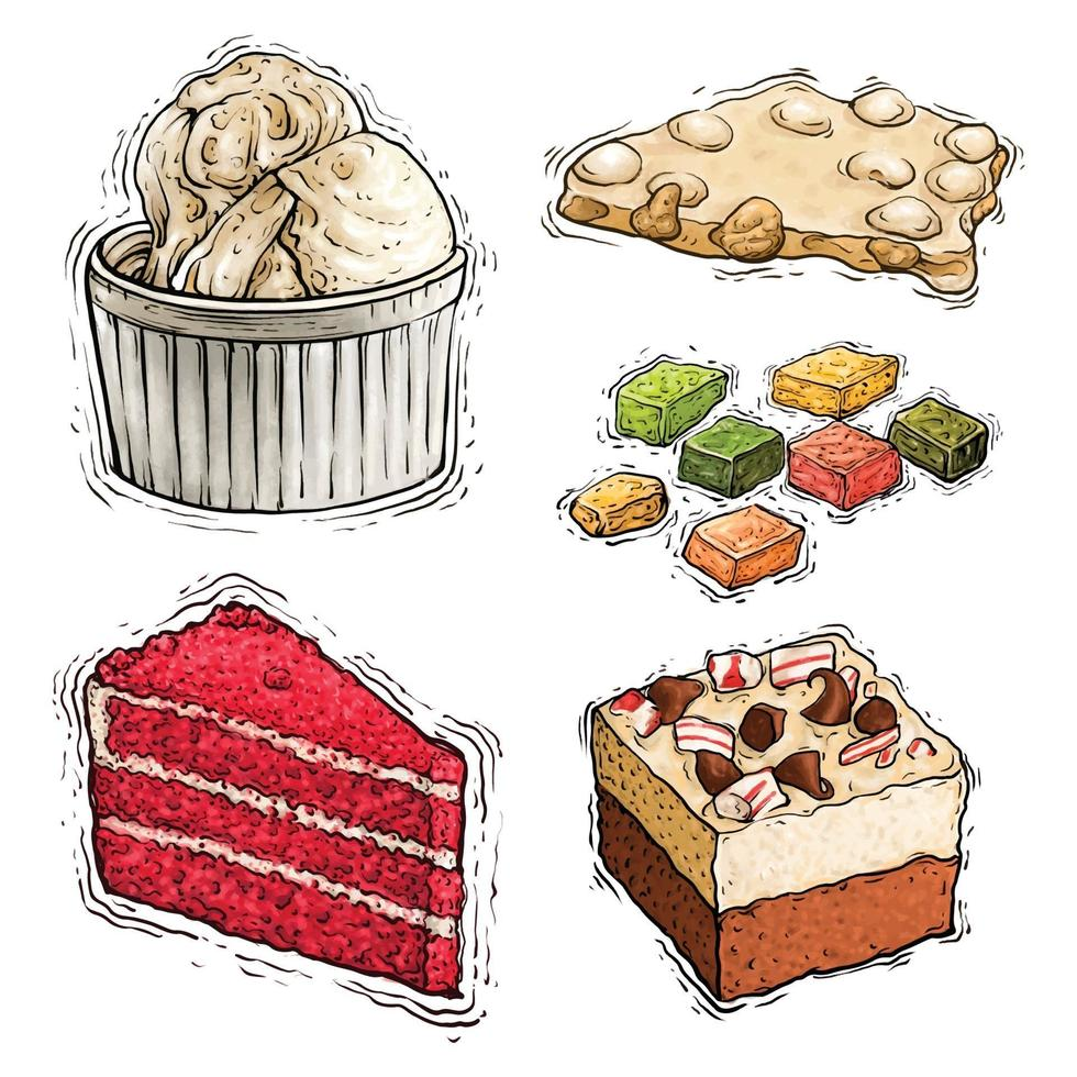 ilustração em aquarela de bolo, avelã e sorvete vetor