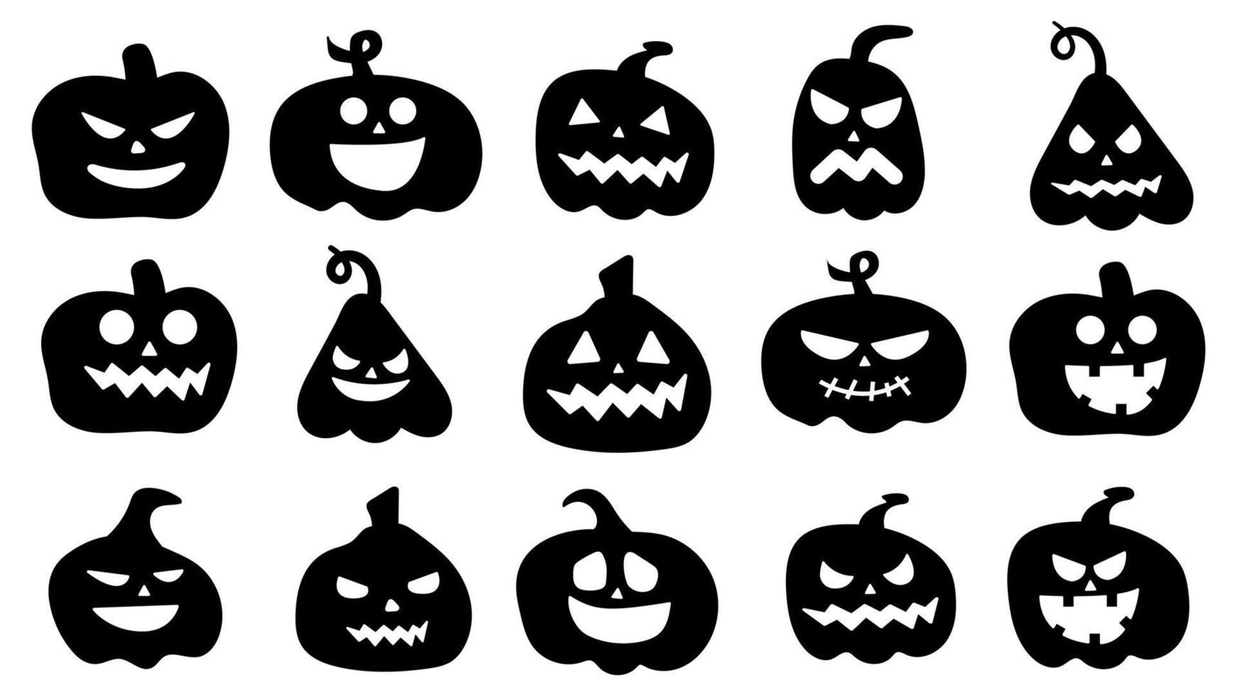 silhuetas de abóboras. desenho de abóbora de halloween vetor