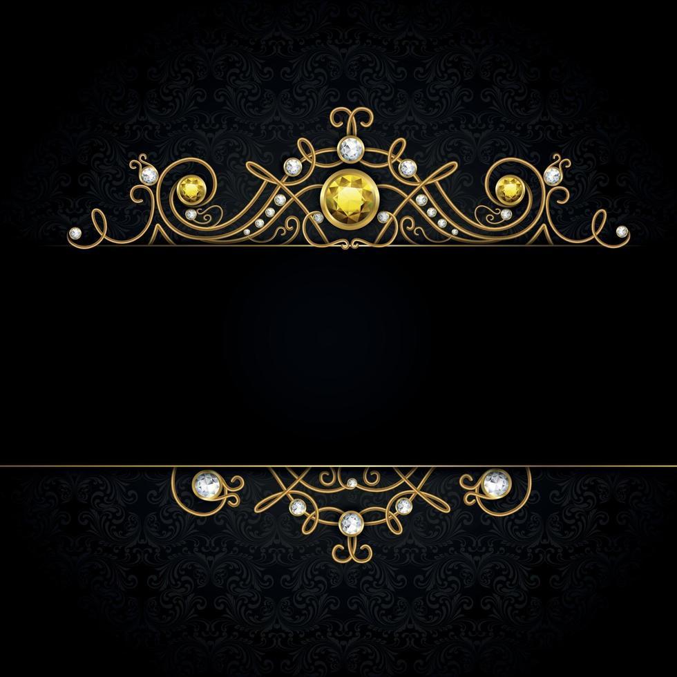 fundo preto joias vetor