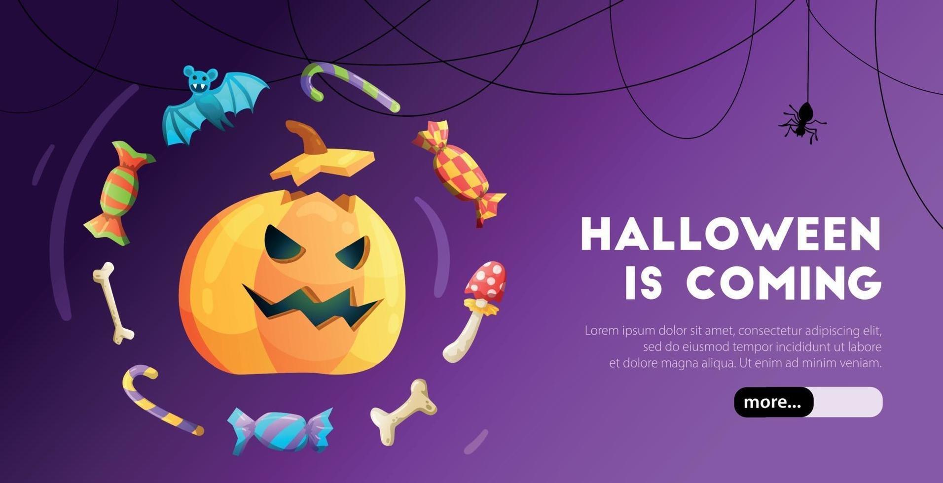 banner da web de halloween vetor