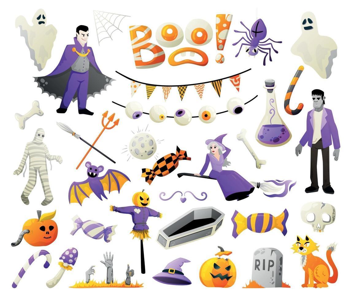 grande conjunto assustador de halloween vetor