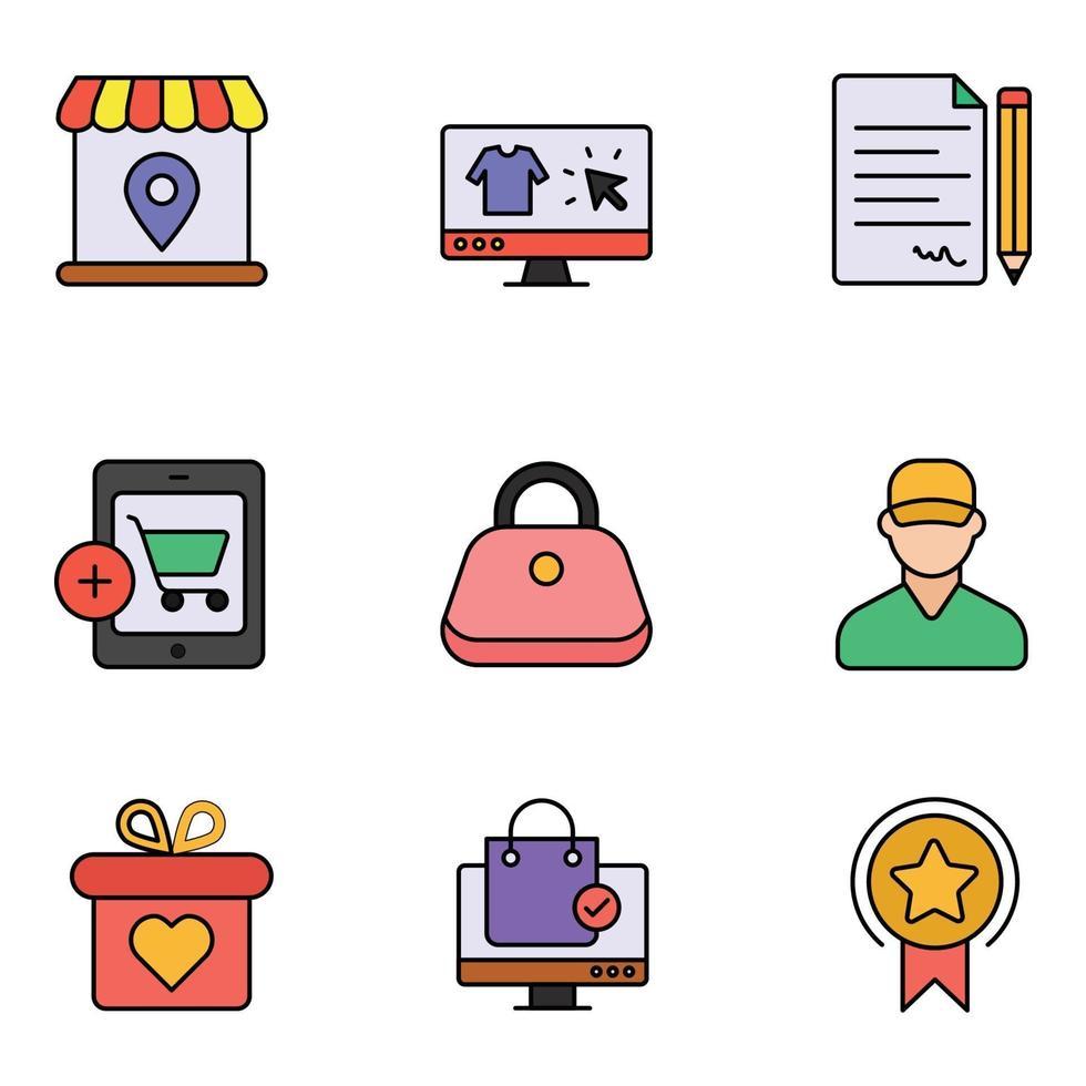 conjuntos de ícones de linha colorida de comércio eletrônico vetor