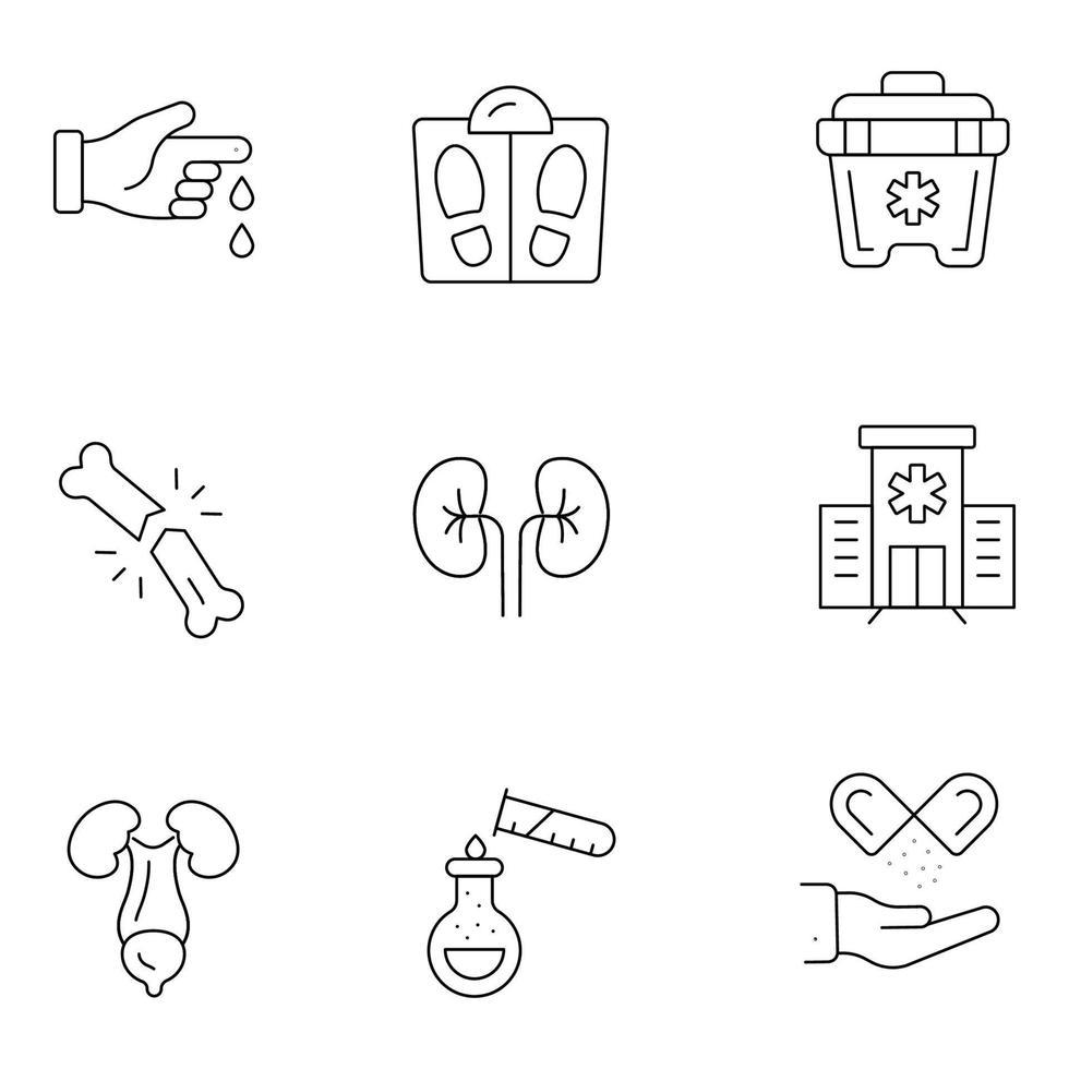 ícones de linha fina médica e de saúde vetor