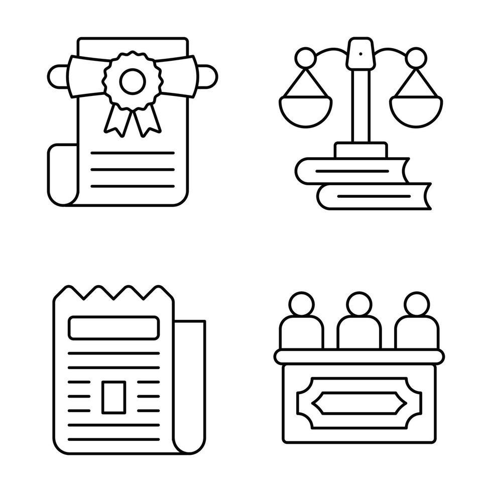 ícones de linha fina lei e justiça vetor
